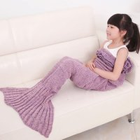 Wholesale Air Conditioned Bedding Quilts - Mermaid Tail Blanket Knitted Bed Blanket Sofa Quilt Air-conditioned Living Room Watch TV Moive Book Sleeping Bag Gift for Kids Girls Pets