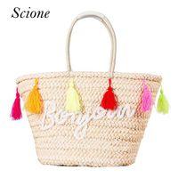 Wholesale bags handbags fashion colorful style - Wholesale- Hot Summer Straw Beach Handbags Purse Colorful Tassel Letter Women Shopping Tote Bohemian Style Weave Travel Shoulder Bag 131570