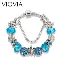 Wholesale Blue Agate Bangle - VIOVIA Fashion New Design Sea Turtles Charm Bracelets For Women Blue Glass Beads Bracelets & Bangles DIY Jewelry Pulseras B16058