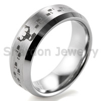 Wholesale Tungsten Carbide Couple - SHARDON 8mm Bevel Tungsten Carbide comfort fit lasered Deer Hunting design Ring for Men Outdoor Wedding Band
