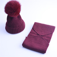 Wholesale Children Knitted Hat Scarf - 2017 Woman New Good Quality Cashmere Children Winter Hat Scarf Knitted Wool Beanies Hats Big Pom Pom Hat Kids Warm Caps Set For Boys Girls