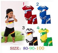 Wholesale Brazilian Clothing - Wholesale- Retails summer new fashion baby clothes sets boys girls bodysuits+shorts newborn rompers Brazilian football baby sports suits