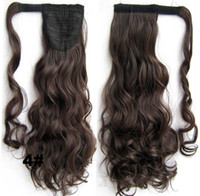 Wholesale Multi color Tie style inch g Clip In On synthetic hair extensions curly ponytails Pony tail