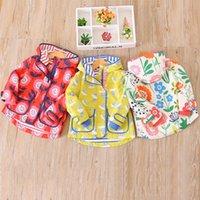 Wholesale Dove Coat - Everweekend Kids Girls Western Fashion Print Dove Flowers Pockets Windbreak Coats Baby Hooded Outwear New Jackets