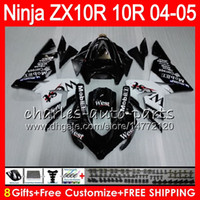 ingrosso kawasaki ninja ovest-8Gifts 23Color Corpo per KAWASAKI NINJA ZX 10 R ZX10R 04 05 06 07 35HM11 Nero ovest ZX 10R ZX1000 C ZX1000C 04 ZX-10R 2004 2005 Kit carenatura