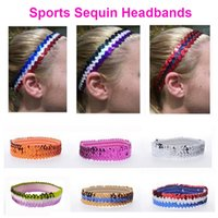 Wholesale Stretch Sequin For Headbands - Sports Girls Sequin Headbands Elastic Stretch Sports Wreath Bandage On Head Decorations Gum For Hair Ornaments