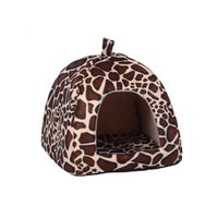Wholesale 26 CM Pet Cat House Foldable Soft Winter Leopard Dog Bed Strawberry Cave Dog House Cute Kennel Nest Dog Fleece Cat Bed