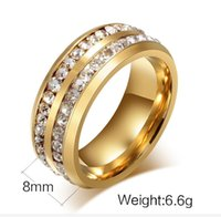 Wholesale Cheap Band Rings Stones - Cheap and Wholesales 8mm Mens Stones Around Stainless Steel Ring Fashion Jewelry Ring yellow gold plated titanium steel environmental