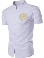 Wholesale Mandarin Collar Tops - New Arrival Chinese Men's Linen Embroidery Kung Fu Shirt Summer Wu Shu Tops Short Sleeve Clothing Size M L XL XXL
