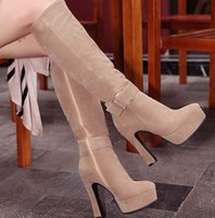 Wholesale Women Spiked Belt - New Arrival Hot Sale Specials Influx Sweet Girl Sexy Spike Retro Super Suede Buckle Martin Sweet Matte belt Stovepipe Knee Boots EU34-43