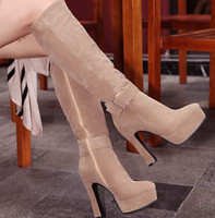 Nova chegada Hot Sale Specials Afluxo Sweet Girl Sexy Spike Retro Super Suede Buckle Martin Sweet Matte cinto Stovepipe Knee Boots EU34-43