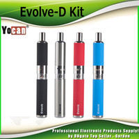 Wholesale Ego Dual Starter Kits - 100% Authentic Yocan Evolve-D Starter Kit dry herb pen Vaporizer with Pancake Dual Coils 650mAh Battery ego thread atomizer genuine 2204022