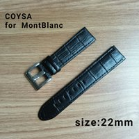 Wholesale Breitling Buckle - MontBlanc All New Design Genuine Leather Band Watch Strap 22mm Watches Bracelet Accessories Black Men Watchbands For Brand