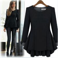 Wholesale Peplum Top Xs - Wholesale- Plus Size XL-5XL Autumn Style Thick T shirt Women Chinlon Peplum Ruffles Long T shirt Tops Long Sleeve Loose T5818
