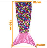 Wholesale Cozy Bags - 138cm Mermaid Tail Blanket Cozy Soft Sleeping Bag Blanket Fish Scale kids sofa blanket 3 color LJJK659