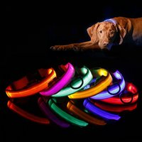 Wholesale Wholesale Flashing Leashes - LED Light Flashing dog pet collar Outdoor Luminous Night Safety Nylon Colorful necklace Leash Glow in the Dark battery version