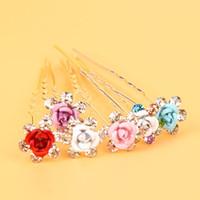 Wholesale Hair Pins Crystal Clear - 10Pcs Rose RHINESTONE U Shaped Hairpins Clear Crystal Wedding Bridal Hair Prom Pins Pin Multi Color