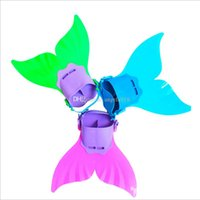 Wholesale Fins For Diving - Adjustable Mermaid Swim Fin Diving Monofin Swimming Foot Flipper Mono Fin Fish Tail Swim Training For Kid Children Christmas Gifts E1135