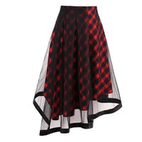Wholesale Girl School Skirt Xl - Gothic Red Plaid Skirt Summer Women School Girls Casual Skirts Fashion Mesh Punk Hippie Goth Young A-line Beach Party Bottoms Skirts