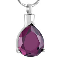 Wholesale tear purple necklace resale online - IJD9410 Tear Drop Purple Stainless Steel Cremation Pendant Necklace Funeral Casket Ashes Keepsake Urn Necklace
