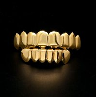 Wholesale Hip Hop Teeth - 24K real Gold Finish Grills Set Eight 8 Top Teeth & Six 6 Bottom Tooth Plain Hip Hop Grills New High Quality Christmas Halloween Gift