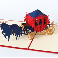 Wholesale Horse Wedding Carriage - 10pcs lot Creative Kirigami & Origami The Horse with Carriage 3D Pop UP Card Cubic Greeting & Gift Cards Wedding Invitations