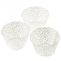 Wholesale Halloween Muffin - Wholesale- 60pcs Lace Laser Cut Cupcake Wrapper Liner Baking Cup Muffin Christmas&Halloween Time forma de silicone mold decor sale