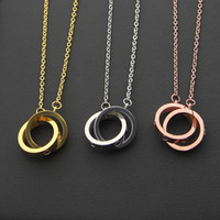 Wholesale Chain Connect Ring - Hot sale 316L Titanium steel Necklace Pendant with small and big double ring connect women and man Necklace Brand logo Jewelry Free Shipping