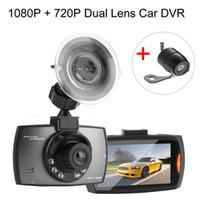 grabadora de video av al por mayor-1080P + 720P Dual LENS Recorder HD cámara del coche HDMI / AV Mini coche DVR Dashcam con visión nocturna del coche Dash Cam Video Recorders
