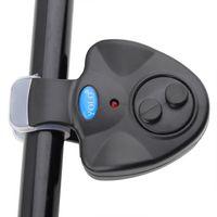 elektronischer bitalarm großhandel-BlacK Universal Angeln Alarm Elektronische Fisch Bissanzeiger Finder Sound Alert LED-Licht Clip auf Angelrute
