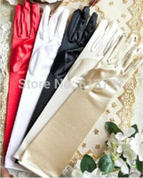 Wholesale Wholesale Ladies Dress Gloves - 1 Pair Full Finger Red White Ivory Black Long Satin Stretch Bridal Gloves Elbow Finger For Ladies Prom Wedding Dress Wedding Accessories