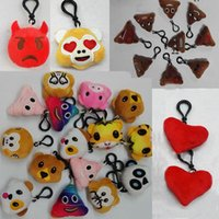 5.5cm Plush Keychains Monkey Red Heart Pig Pooh Dog Tiger Panda Bear Poops Emoji Stuffed Doll Toy Keyring Mobile Pendant Christmas Gift