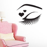Beautiful Girl's Eye Outline Stickers muraux Decorative Beauty Salon Stickers muraux Vinyl Removable Eyelashes Maquillage Stickers muraux pour mur