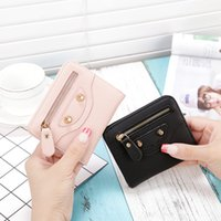 Wholesale thin ladies purses - 2017 New Korean Ladies Small Wallet Women Short Paragraph Fresh Ultra-thin Simple Students Folding Purse