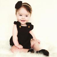 neugeborenen jungen kleidung verkauf großhandel-heißer Verkauf Baumwolle Neugeborenes Baby Mädchen Kleidung Mode Top Strampler Overall rosa schwarz Kinder Kleidung Luxus Outfit 0-6M Großhandel Top Einzelhandel