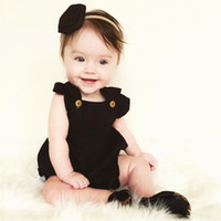Wholesale sleeveless tops baby boy - hot sale Cotton Newborn Baby Boy Girls clothes fashion top Romper Jumpsuit pink black kids Clothing luxury Outfit M top retail