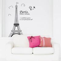 Wholesale France Beautiful - Romantic Paris Eiffel Tower Beautiful View of France DIY Wall Stickers Wallpaper Art Decor Mural Room Decal
