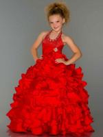 organza blumen china großhandel-Neue kleine Blumenmädchen Organza Kristall Halter Ballkleid Abendkleid Kinder Festzug Kleider für Hochzeit China