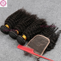 Wholesale Malaysian Hair Dhl - 8A Grade Brazilian Hair Kinky Curly hair Bundles with Lace Closure 100% Human Hair weft NO tangle&shedding DHL Free shipping