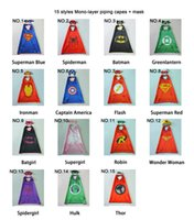 Wholesale Cartoon Hero Costumes - 15 Styles Single layer 70*70cm kids cape and mask Super Hero Costume for Children Halloween Party Costumes for Kids Children's Costume