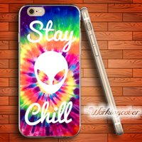 Iphone 4s Case Alien Pas Cher-Coque Tie Dye Alien Restez Chill Soft Clear Case TPU pour iPhone 6 6S 7 Plus 5S SE 5 5C 4S 4 Housse en silicone.