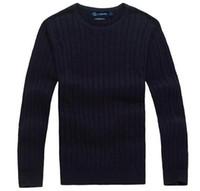 поло игры оптовых-Бесплатная доставка 2018 новый высокое качество mile wile polo бренд мужской твист свитер вязать хлопок свитер джемпер пуловер свитер маленькая лошадь игра