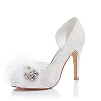 Wholesale Beaded Flat Dress Shoes - peep toes lace wedding dresses with feather beaded high heel fashion women shoes for evening prom party gown