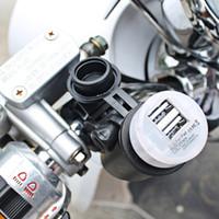 Wholesale Fusing Copper - 2016 CS-020 12V Motorcycle Handlebar Mounted Power Socket Universal USB Charger Copper Power Socket Dual USB Output with fuse