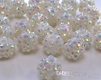 Wholesale Rhinestone Epoxy Resin Beads - Cheap! free shipping 10 mm white Color Epoxy Rhinestone,Resin Crystal Spacers Beads Jewelry Finding bead hot Wholesale! Stock!Mixed Lot! x82