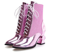 Wholesale Silver Booties Heels - 2017 women boots autumn and winter women shoes unique high heels pointed toe ankle boots lace up gold and sliver booties NMM8