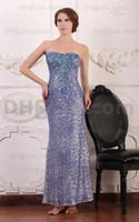 Wholesale Real Actual Rhinestone Crystal Dress - Strapless Luxury Purple Evening Party Dresses Sequins Blue Rhinestones Beaded Real Actual Images Dhyz prom