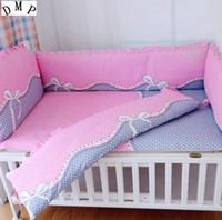 Wholesale cartoon baby cot - Promotion! 6PCS Cartoon baby cot bumper Baby Crib Bedding Set with Bumper baby bed bumper ,include(4bumpers+sheet+pillowcase)