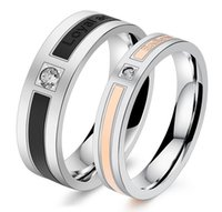 Wholesale Silver Couple Rings Sale - Luxury Stainless Steel Couple Ring Engagement Wedding Band Lover Promise Rings Hot Sale His Her Lovers Jewelry