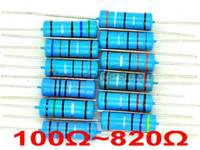 Wholesale resistor metal film ohm - Wholesale- 3 Watts Metal Film Resistor Mixed Value E-12 Series Assorted Kit, 100~820 ohm.